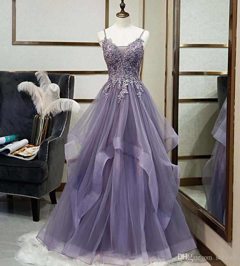 Setwell Espagueti una línea de vestidos de noche sin mangas con volantes apliques de encaje de cuentas de longitud de largo partido del Prom Vestidos