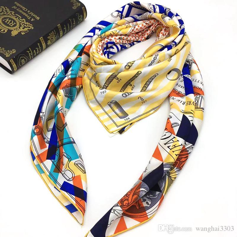 Nuevo estilo de alta calidad 100% sarga material de seda imprimir letras bufandas cuadradas para mujeres tamaño 130cm - 130cm