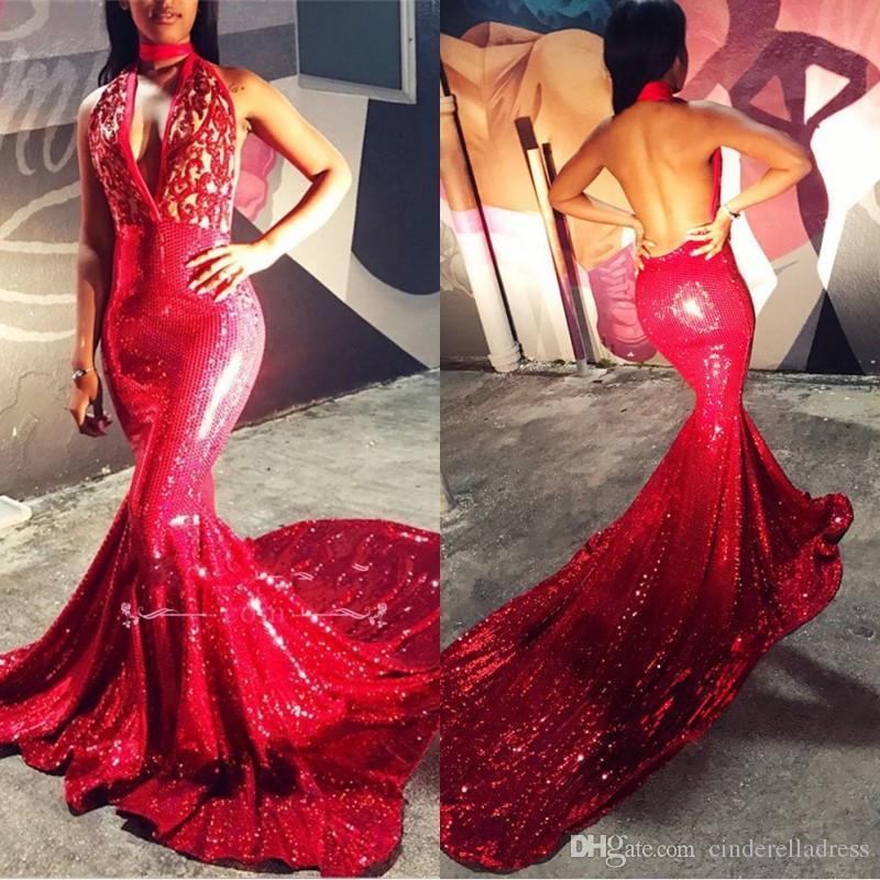 2019 Nowy V Neck Syrenka Cekinowy Haft Prom Dresses High Neck Plus Rozmiar Backless Afryki Arabskie Suknie Wieczorowe