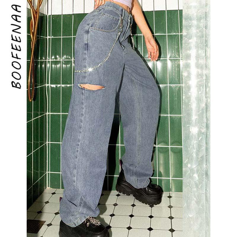 BOOFEENAA Woman Jeans 2020 High Waist Straight Wide Leg Denim Pants with Chain Hole Baggy Boyfriend Jeans for Women C71-BB99