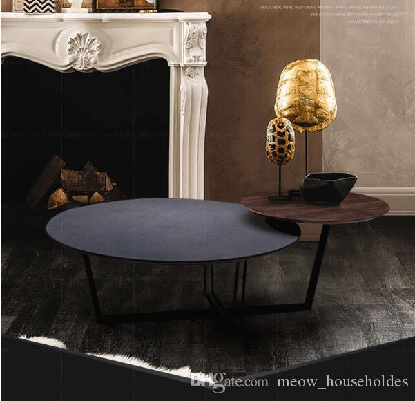 Éxito industrial Nordic madera maciza hierro arte mesa de té estilo retro simple sala de estar loft pequeño diseñador lateral Estilo industrial