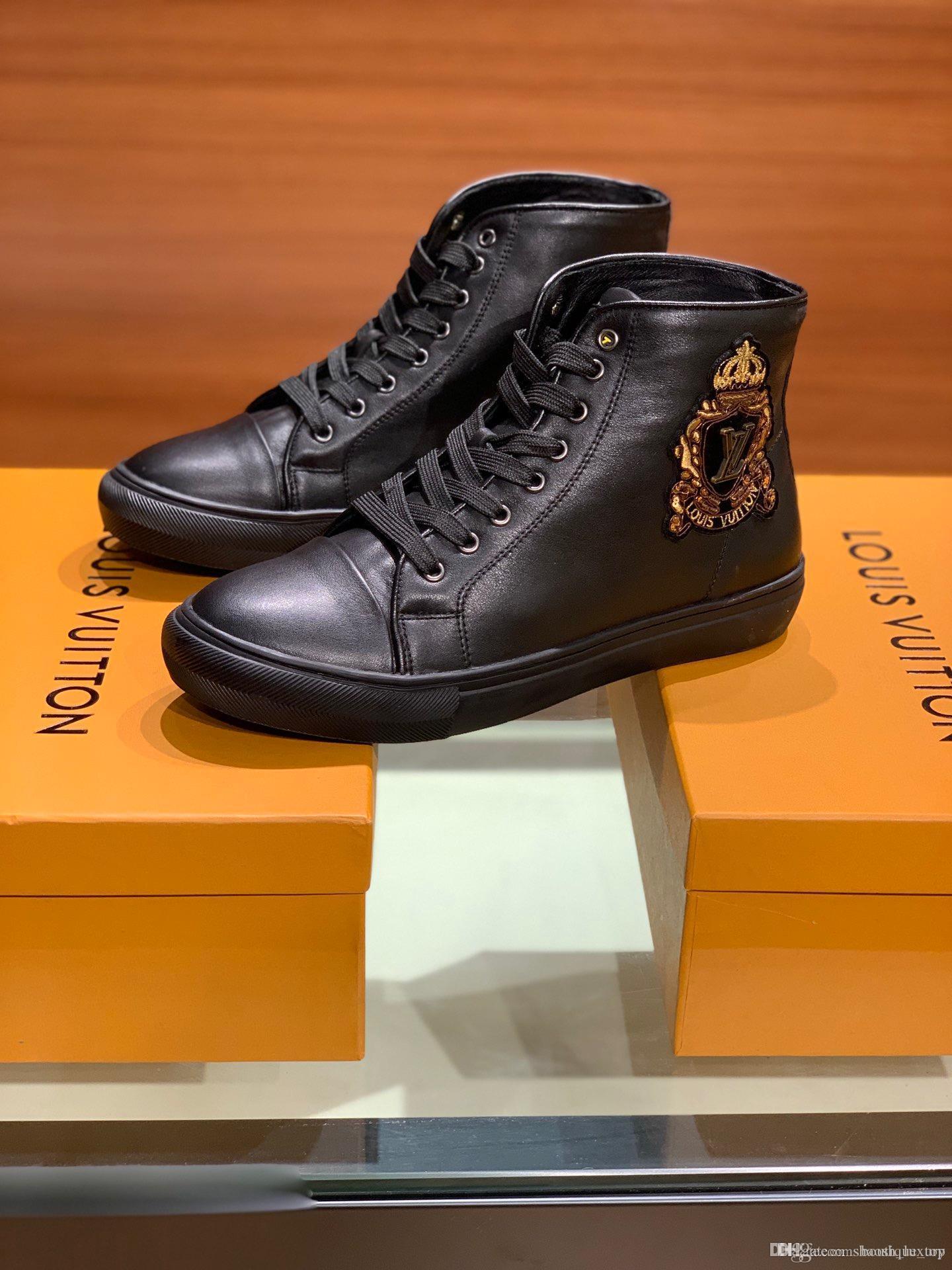 2020ss Личность моды известных дизайнеров Luxury кроссовки высокие верхние ботинки с высоким качеством натуральная кожа досуг дизайнеров обуви