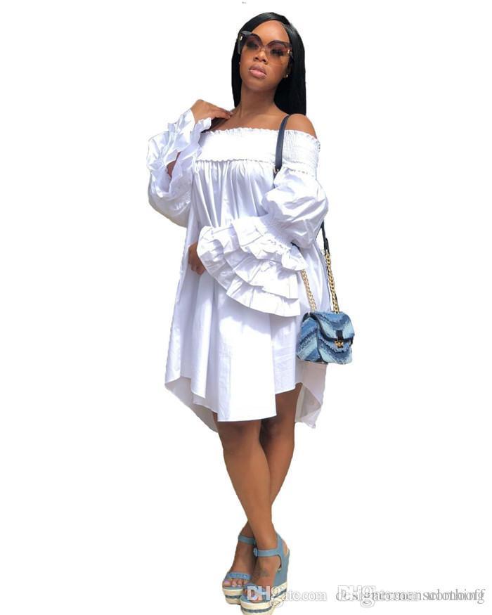Разрез шеи Белл рукава длиной до колен платье плиссированные хлопка Смешать вскользь свежий и сладкий Асимметричный платье