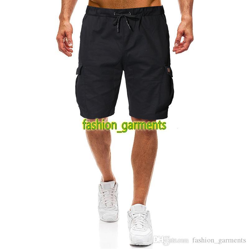 2019 nuevos mens del verano forman los pantalones del color sólido de los hombres de los cortocircuitos ocasionales para hombre estilista pantalones cortos de color caqui Negro para hombre Pantalones cortos con cordón