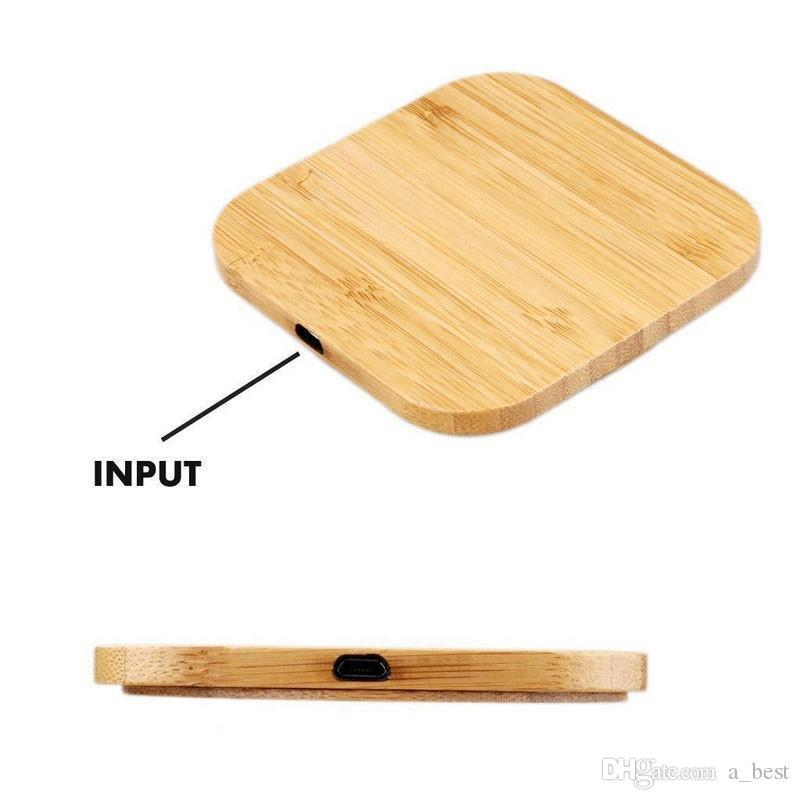 Bamboo Wireless Charger Wooden Pad Qi Fast Charging Dock USB Cable Charging For iPhone 11 Pro XR XS For Samsung Note10 plus