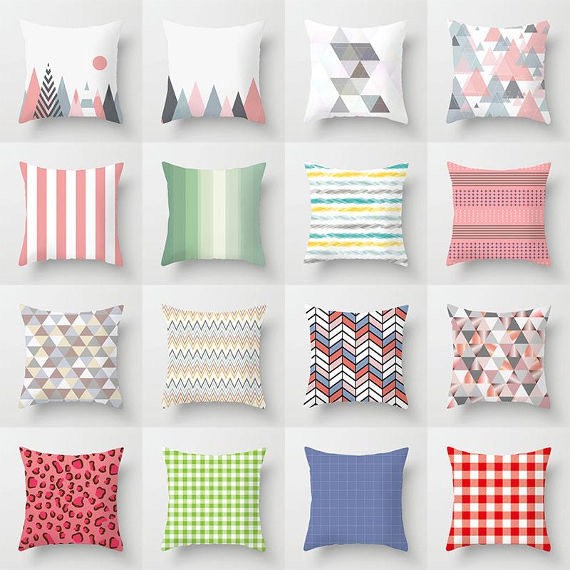 Geometric Mountain Triangles Stripe Plaid Cushion Covers Minimalist Decor Pineapple Pillow Cases 44X44cm Sofa Chair Decoration