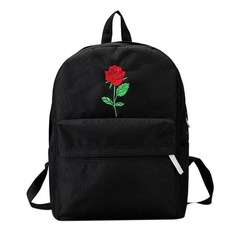 Sırt çantası Kadın Tuval Gül Çiçek Nakış Öğrenci Genç Kız Okul Sırt Çantası Seyahat Çantası Siyah