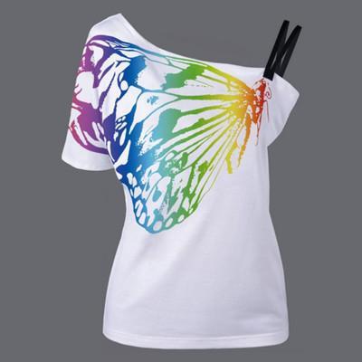2019 progettista T di estate nuove donne di modo farfalla Stampe T-shirt manica corta senza spalline Ragazze spalle maglietta Vestiti all'ingrosso