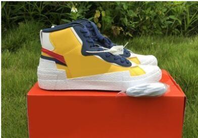 navio New Gota Authentic Sacai x Mid Blazer Yellow Varsity Red milho branco azul Homens tênis de basquete Sports Sneakers c15