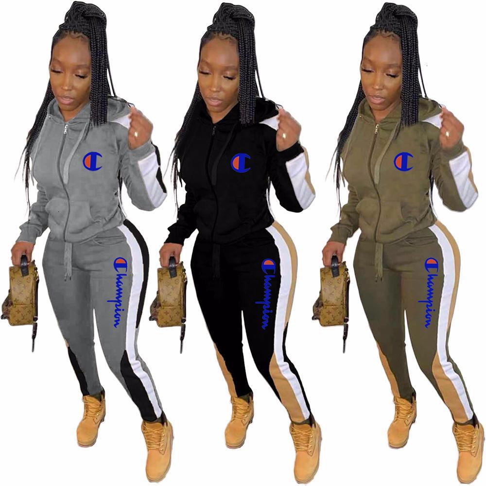 explosión modelos de ropa deportiva YX9179 de las mujeres en Europa y América del bordado de la letra suéter encapuchado costura juego de los deportes mujeres22