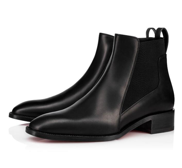 الأحذية الشتوية الموضة مارمادا حذاء الكاحل الأحمر القاع للنساء المصممات الكعب المربع الفاخر