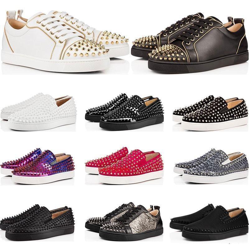Zapatos diseñador de la marca tachonado Spikes Pisos zapatos s zapatos de lujo para hombre de la fiesta para mujer de cuero auténtico tamaño de las zapatillas de deporte 36-46 con la bolsa