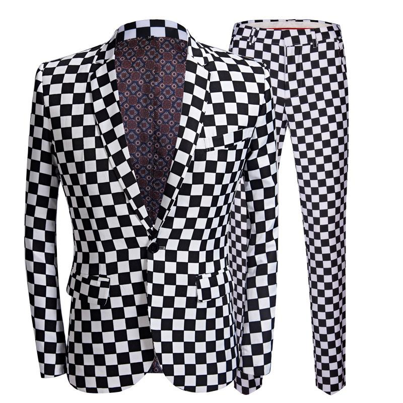 Mens Mode Anzüge Schwarz Weiß Plaid Printing Blazers 2 Stücke Sets Neueste Mantel Hose Hochzeit Bühne Singer Slim Fit Kleidung