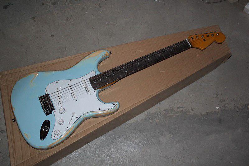 شحن مجاني عام 2020 جديد وصول الغيتار مخصص F SSSS Bried Stratocaster blue 6 Strings natural Wood Electric Guitar