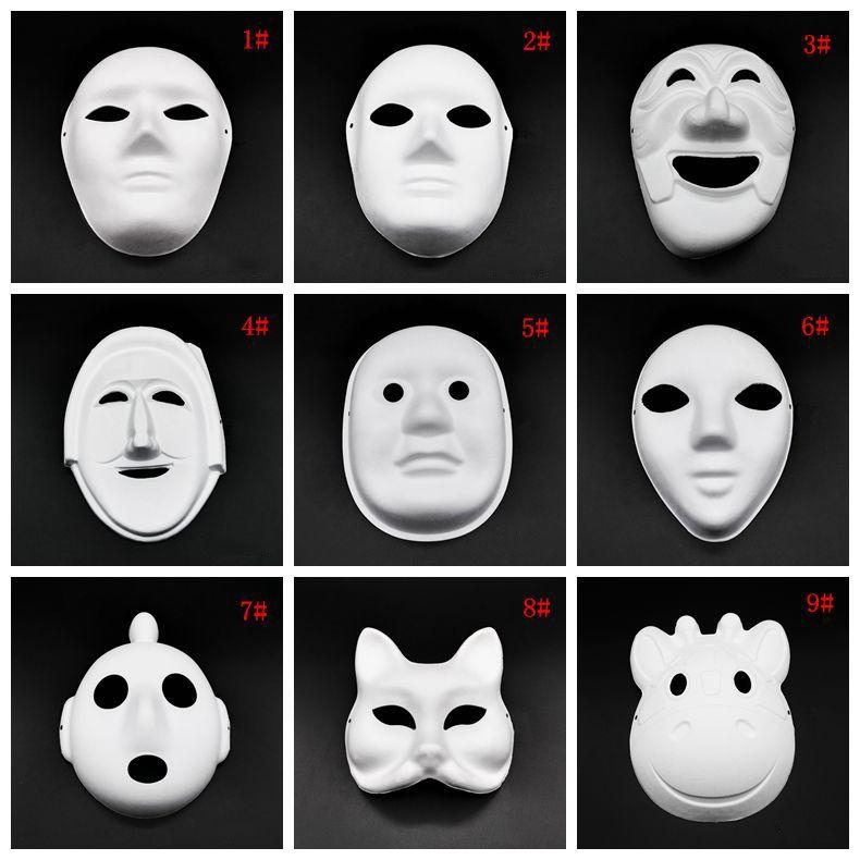 Halloween Vollmasken DIY Handgemalte Pulp verputzt Pappmaché Blank Maske Weiß Maskerade-Masken Plain Partei Maske DBC VT1088