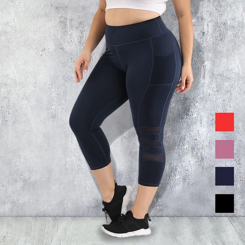 Ropa S-4XL de las mujeres más del tamaño de bolsillo medias pantalones de la yoga de fitness polainas empuja hacia arriba alta cintura negros de gimnasia Ropa de deporte Run Y200106 entrenamiento