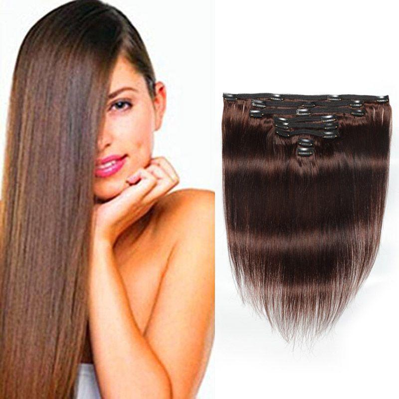الشعر العذراء البرازيلي مستقيم 4 # اللون 120G 100٪ الانسان الشعر بيرو حريري مستقيم كليب في الشعر 120G / مجموعة 4 # اللون بالجملة