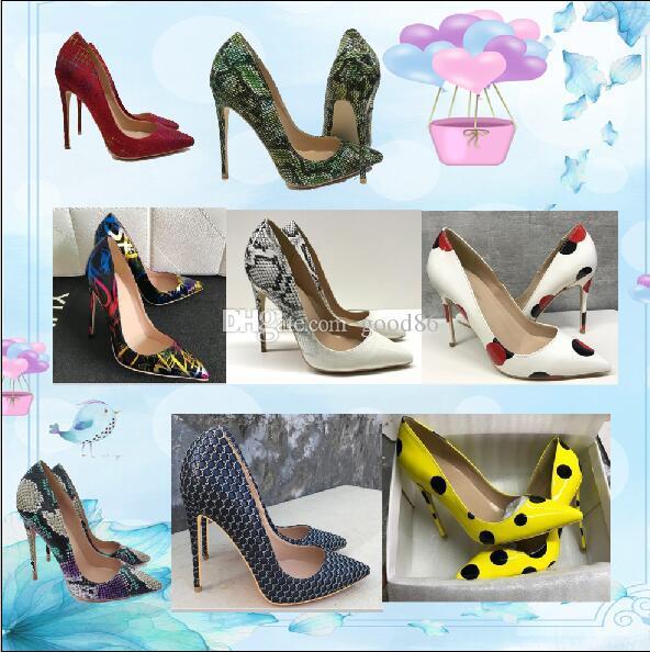 Meninas Bombas Designer Clássico Mulheres Vermelhas Bottoms High Saltos de Patente de Patente Pontento Vestido Sapatos de Luxo Raso Boca Vermelho Sola De Casamento Sole