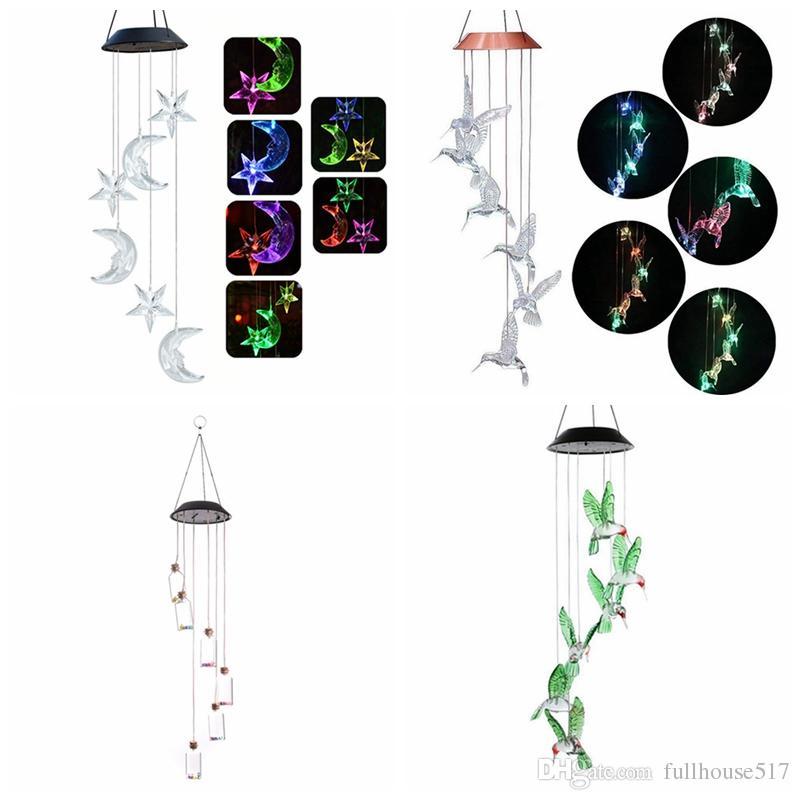 Mudando a cor do LED solar de lua sinos de vento e estrelas Cantarolando objetos pássaro Wind Chimes pingente de borboleta Sino Quintal Garden Home decorativas