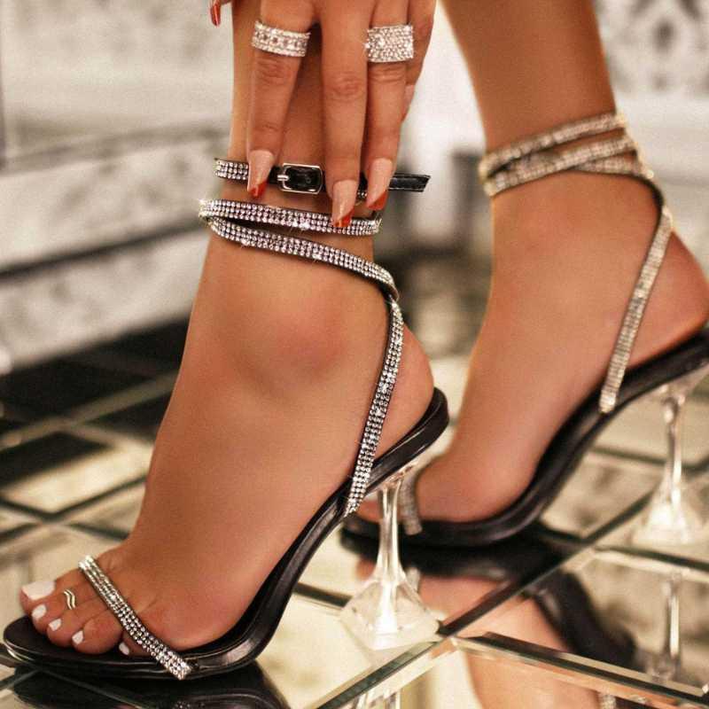 LanLoJer verano Rhinestone bombas de las mujeres zapatos de las sandalias del partido del gladiador de la hebilla de la correa de la Copa de las señoras Tacones altos Weeding de vestir sandalias