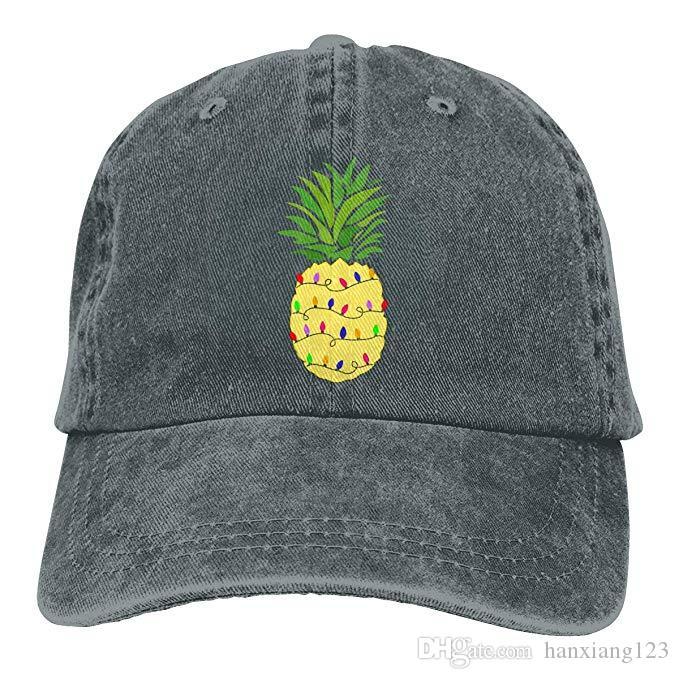 2019 New Wholesale Baseball Caps Pineapple Christmas Tree Lights Mens Cotton Adjustable Washed Twill Baseball Cap Hat