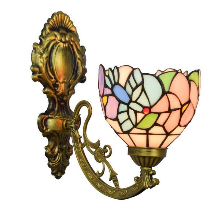 Lampada da parete Stained Glass Flowers paralume Art Led Comodino Studio Asile Parete Lampada alto o in basso Illuminazione Camera da letto