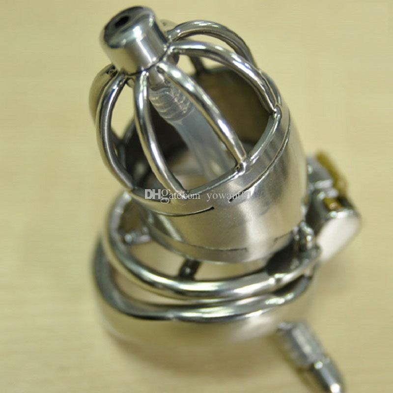 Stimolante dispositivo di castità maschile Gabbia in acciaio inossidabile con suoni uretrali in silicone Catetere Anti-off Cock Ring BDSM Giocattoli sessuali per uomo