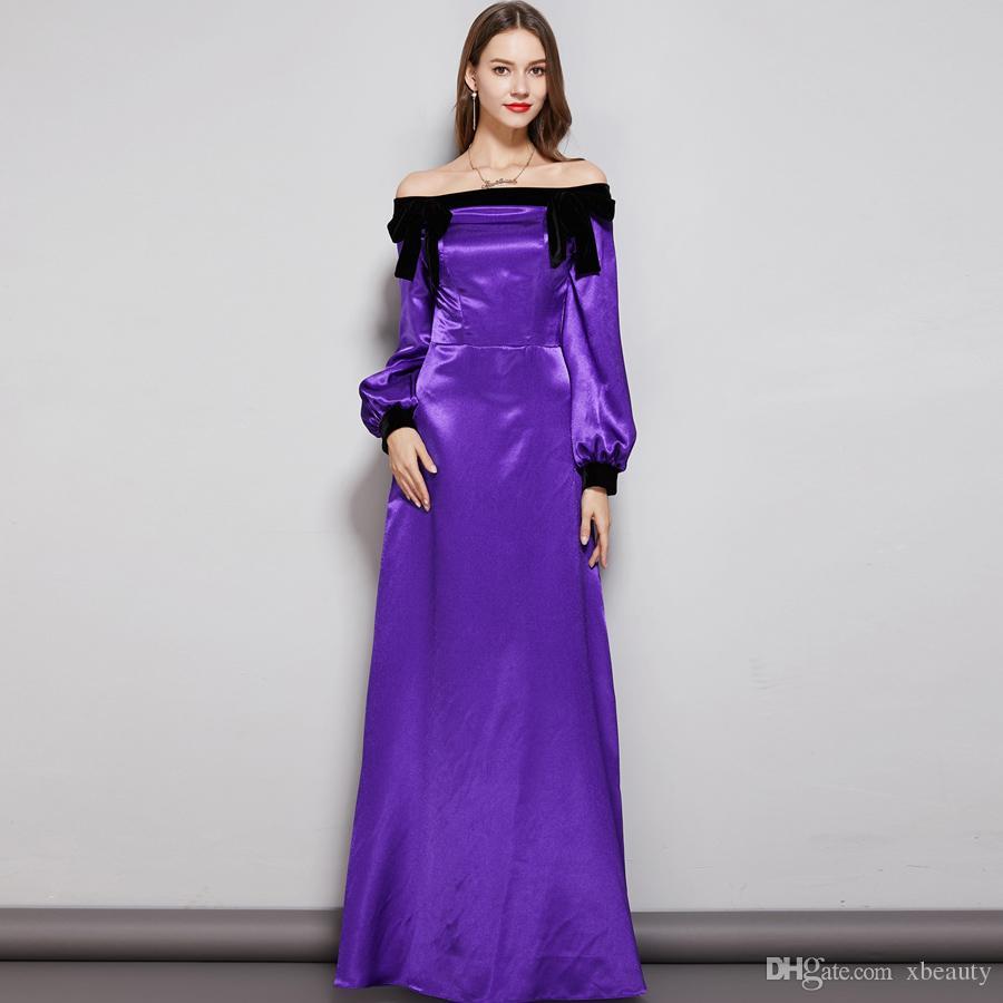 새 컬렉션 여성 이브닝 파티 댄스 파티 드레스 슬래시 넥 라인의 긴 소매 바지 디테일링 우아한 맥시 디자이너 패션 드레스