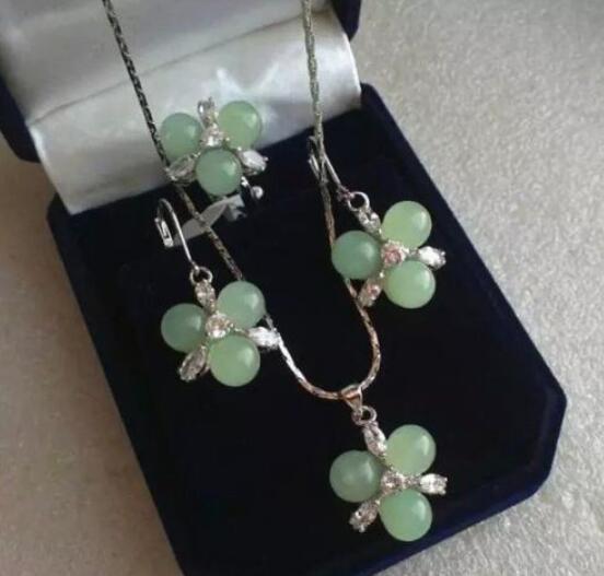 Jewelryr Jade Set Gioielli preziosi gioielli in pietra collana dell'anello del pendente l'orecchino naturale di trasporto