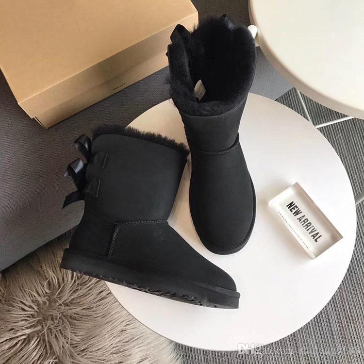 Automne Hiver 2019 Mode féminine Falt Bow-noeud Boot Outsoor Casual Chaussures de laine imperméable Bailey chaud Chaussures pour femmes Bottes de neige 35 ~ 40 @ 1016225