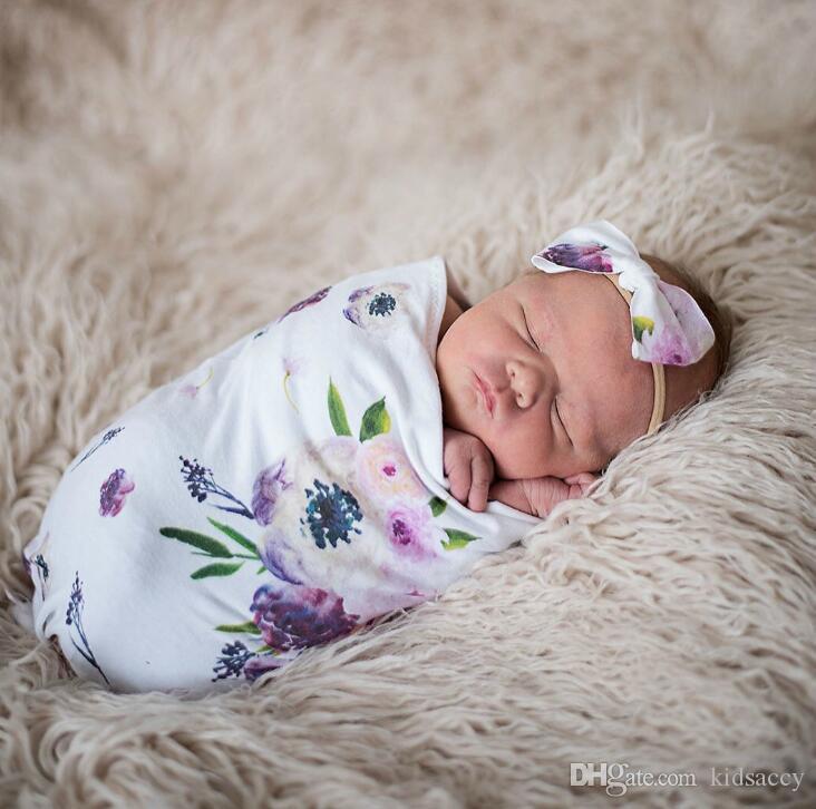 Bébé nouveau-né bébé Swaddle Sacs de couchage pour bébé Muslin Blanket + Bandeau bébé en coton doux cocon Gigoteuse Bandeau de jeu de A287