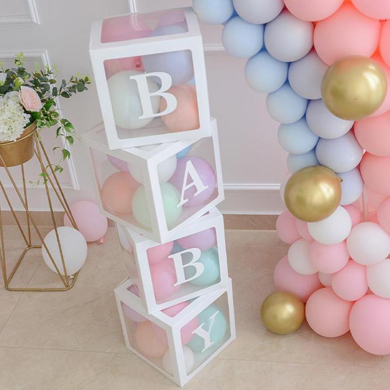 "4Pcs/Set Plastic Balloon Box With ""BaBy/Love""Sticker Transparent Print Cube Gift Organizer For Baby Shower Wedding Birthday"