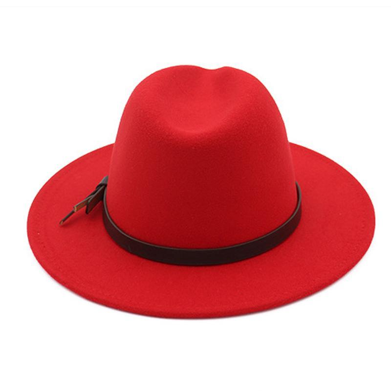 Mode-Femmes Panama Trilby Australie Laine feutre plat large Brim British Jazz Hat Fedora Chapeaux avec bande en cuir