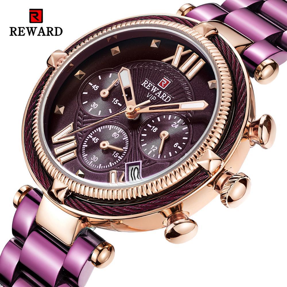 НАГРАДА Мода Женщины Часы полосовой стали кварцевые часы для Montre Femme 2020 Дамы водонепроницаемый наручные часы Relogio Feminino