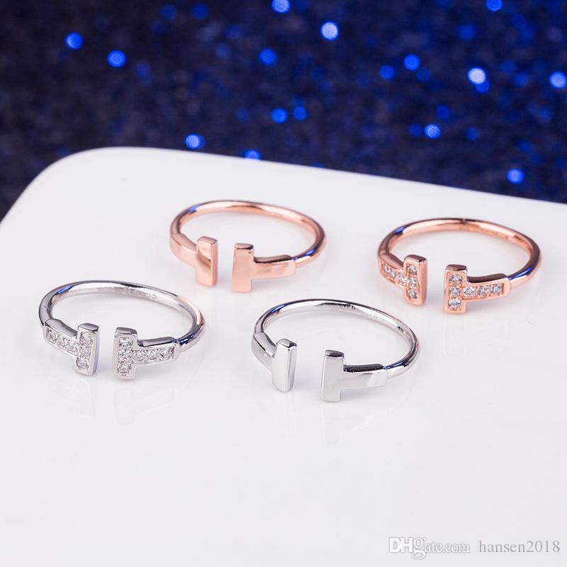 Real 925 Sterling Silver CZ diamante anel de casamento anel duplo T Anel da jóia para os anéis amante mulher ouro rosa e prata cor