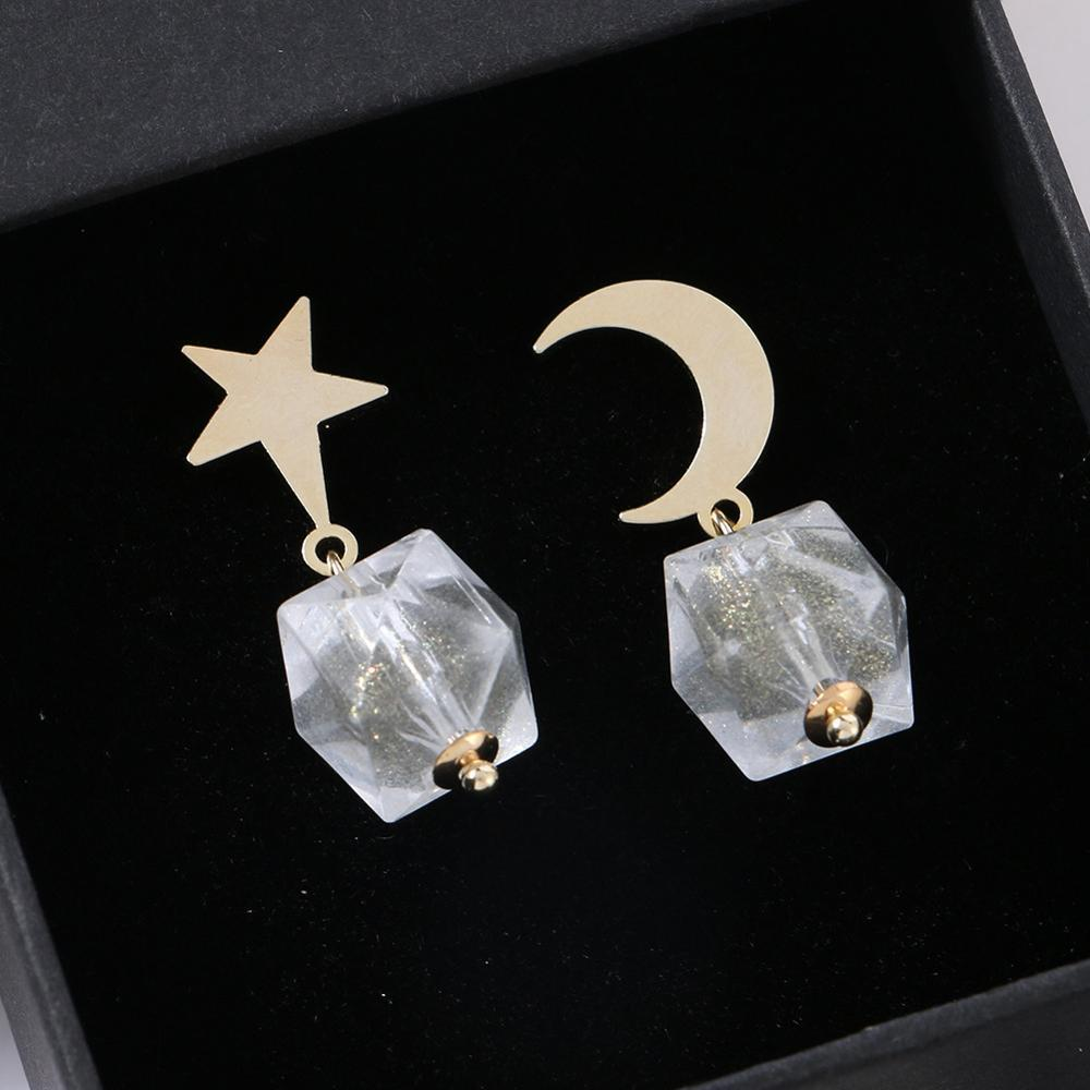 2019 Elegance11 Christmas Earrings Funny Star Moon Clear