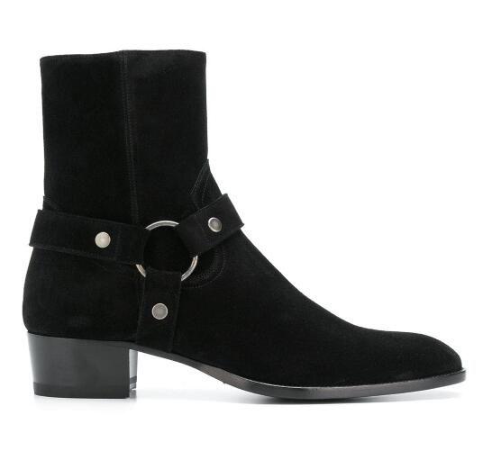 Adam Siyah Süet Wyatt Boots Klasik Yan Yeni Slp Wyatt Harness Boots Düşük Yığın Topuk Paris Batı Ayakkabı Zip