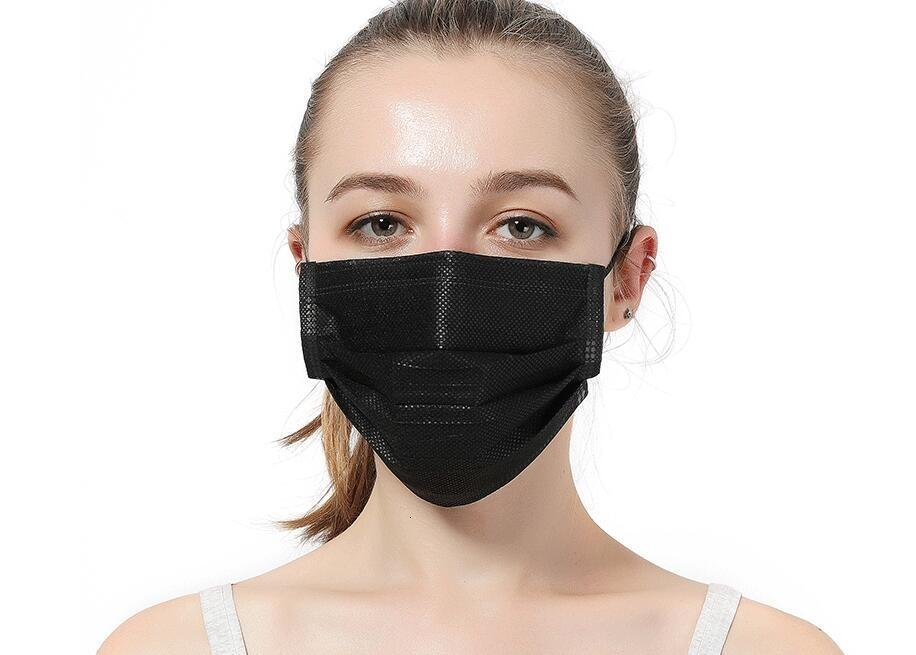 Free DHL Ship!Wholesale Face Mask Hood Civil Non Woven 3 Mask Black Layer Thick 1 Packs Adult Protective ( ) Silver With Black Colors 2J0H