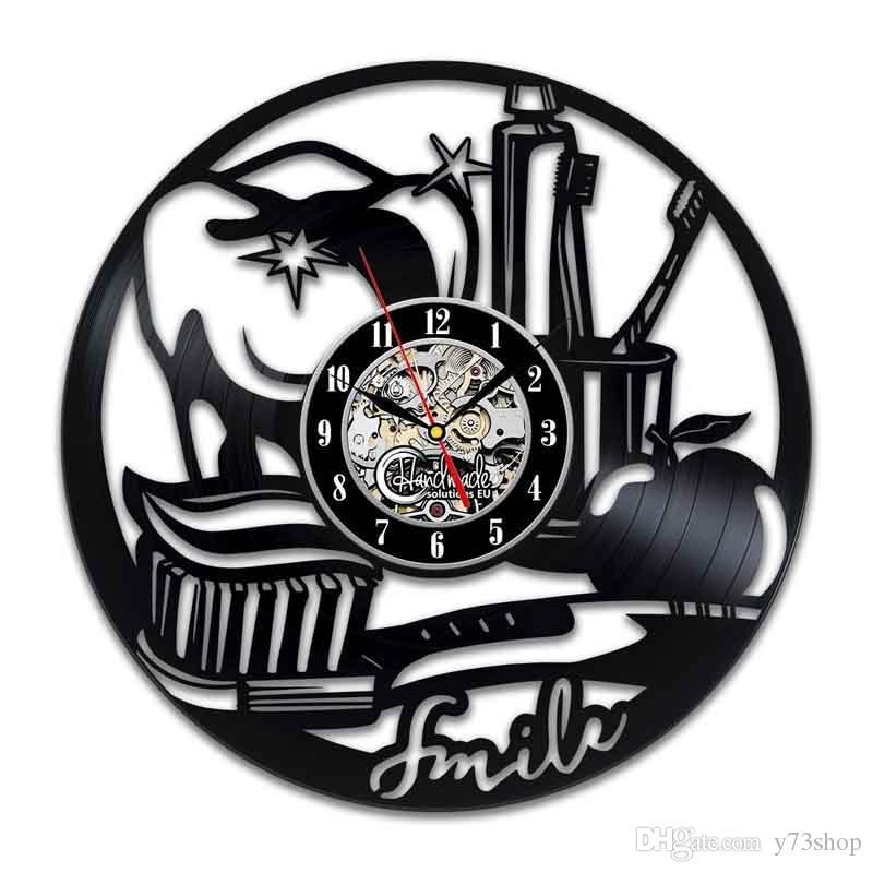 Dentiste Vinyle Horloge murale Art Design d'intérieur Décoration d'intérieur à la main Art personnalité cadeau (Taille: 12 pouces, Couleur: Noir)