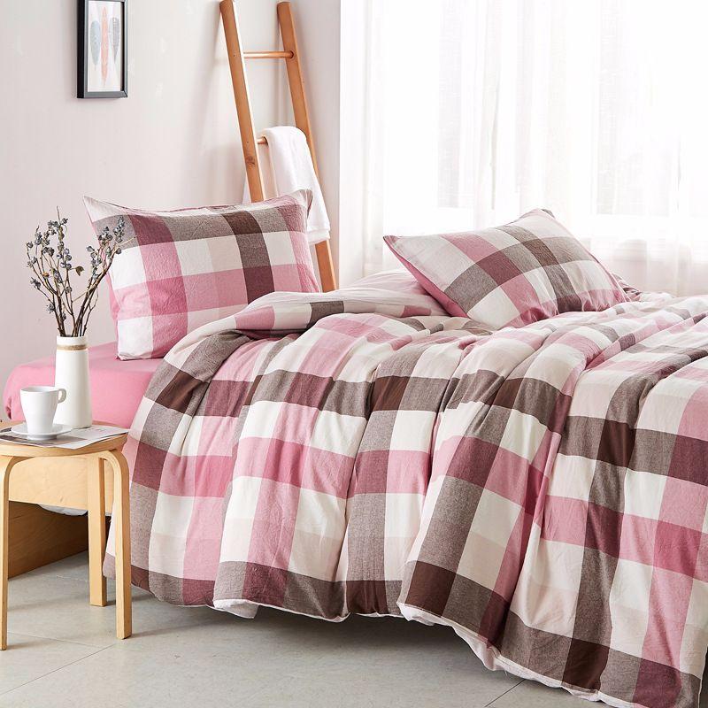 2019 Bedding Set Cotton Washed Cotton Sheet Plaid Bed Linen 220x240