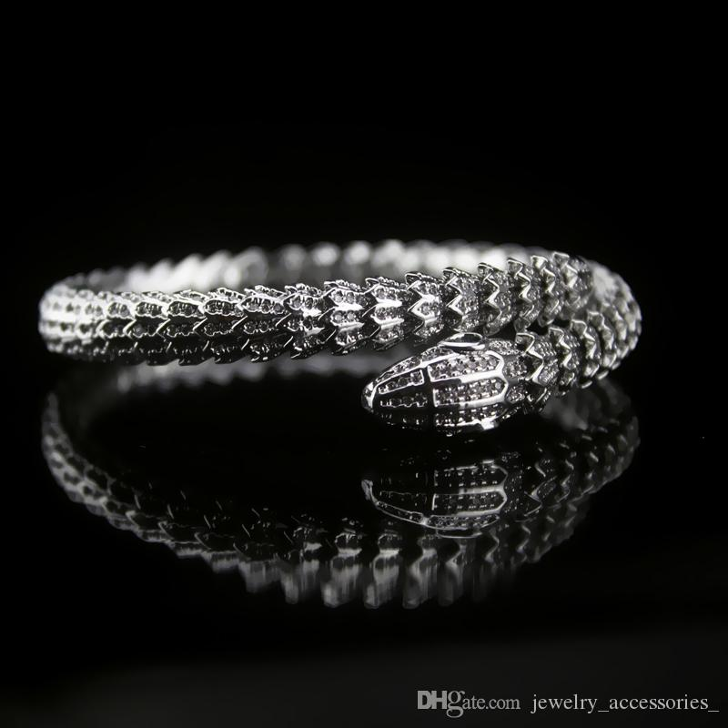 Snake Elastic-Diamant-Armband-Frauen Sterlingsilber Tier Viper Ringe Edel Frauen-Partei-Bangles-Partei-Geschenk-Schmuck-Set
