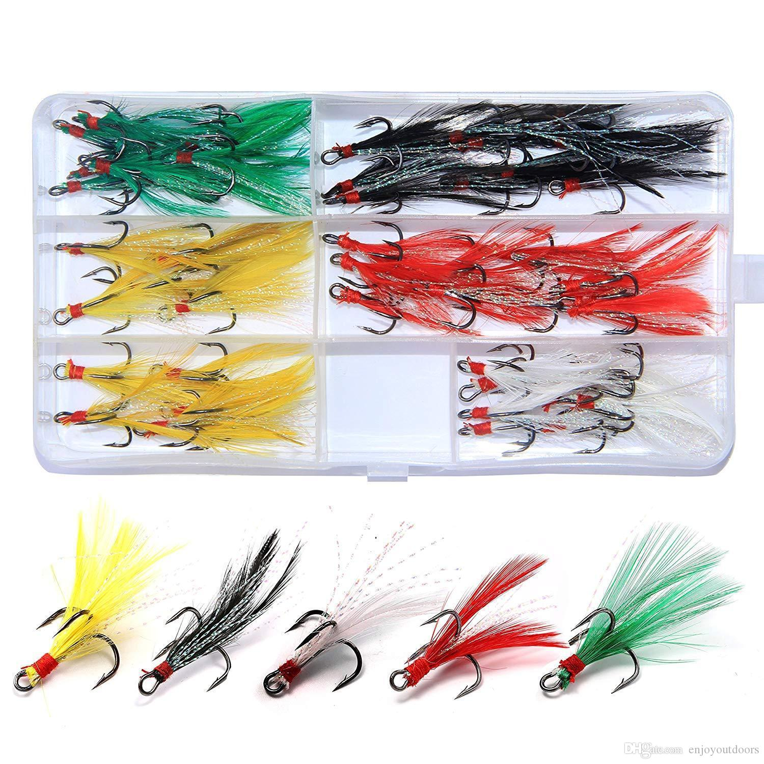 Feather Trolling Bass Hooks Baits Fishing Lures DIY Accessory 10Pcs per Pack