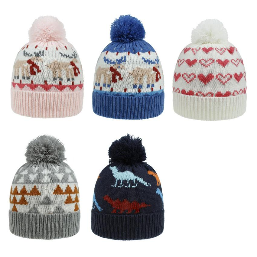 Knit Kid Crochet Beanies Hat Winter Warm Stretchy Caps Elk Dinosaur Love heart Animal Hat Knit With Ball 8 Colors New