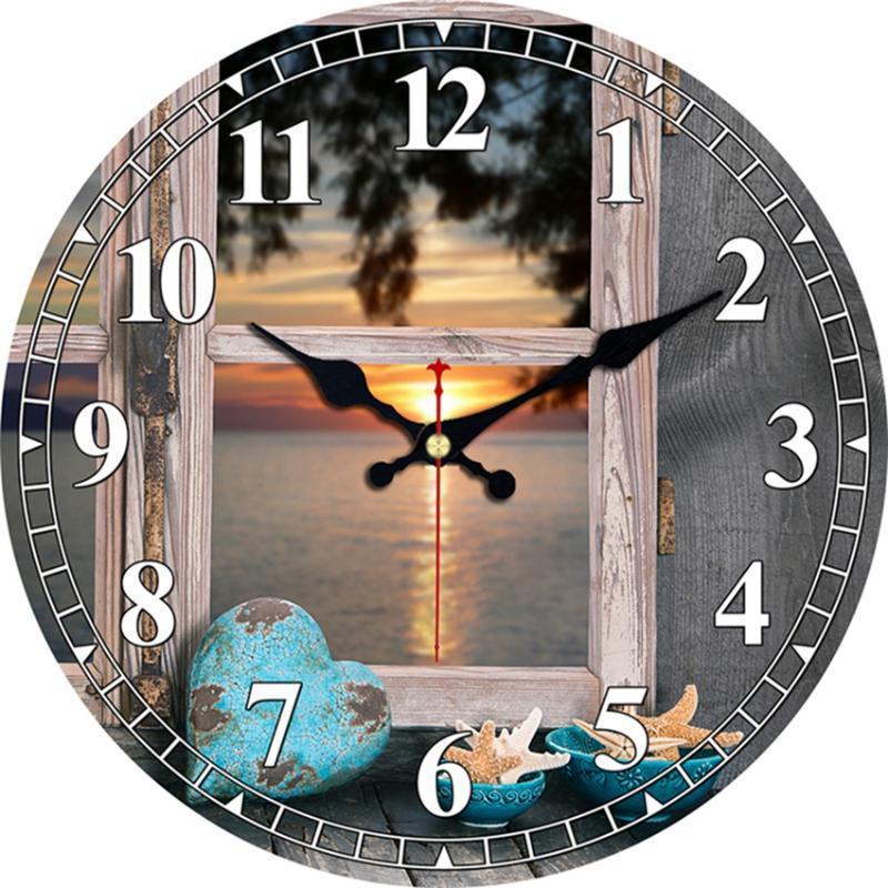 Винтажная ночная съемка Дизайн Часы Тихая Часы настенные для кухни Гостиная Ванна Home Decor Wall Art Большие часы Нет тиканье