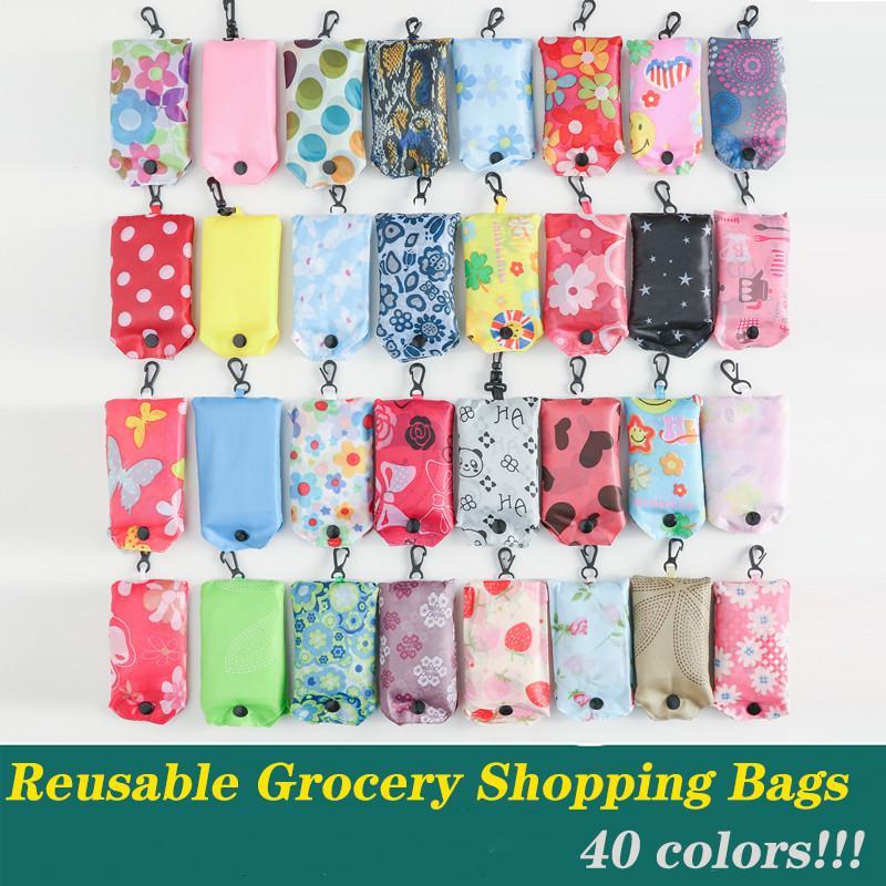 Reutilizável Grocery Sacos dobrável de mantimento Fits Folding compras sacola no Pocket Eco amigável lavável durável e leve