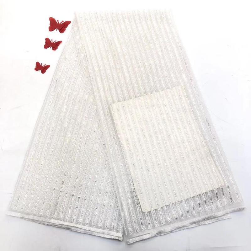 estilo único com lantejoulas linha completa frisado Tull tecido de renda líquida JOY-2243 Fashionable tecido de rendas estilo francês para faric casamento