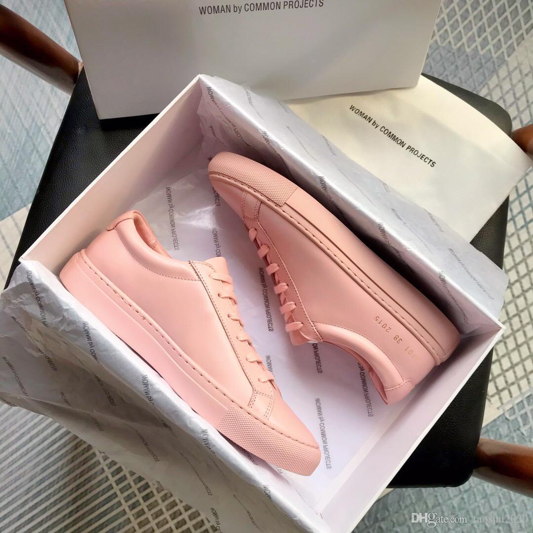 Nova Rosa Branco Achilles Low Top Mulheres Sapatilhas de couro genuíno sapatos casuais Flats Chaussure Femme Homme 34-45