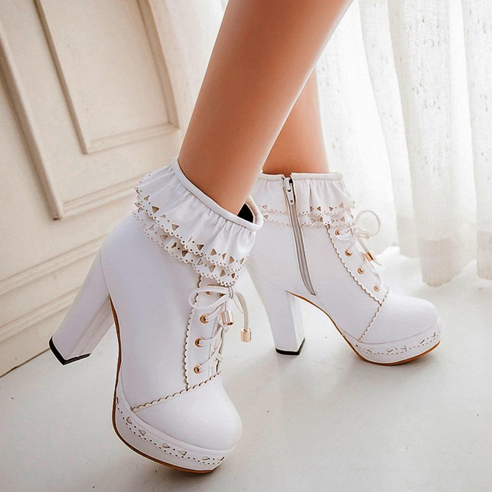 SARAIRIS Ladies Ankle Boots Women Shoes Sweet Lace Lolita Lovely Cosplay Platform Ladies High Heels Boots Woman Plus Size 48 T200425