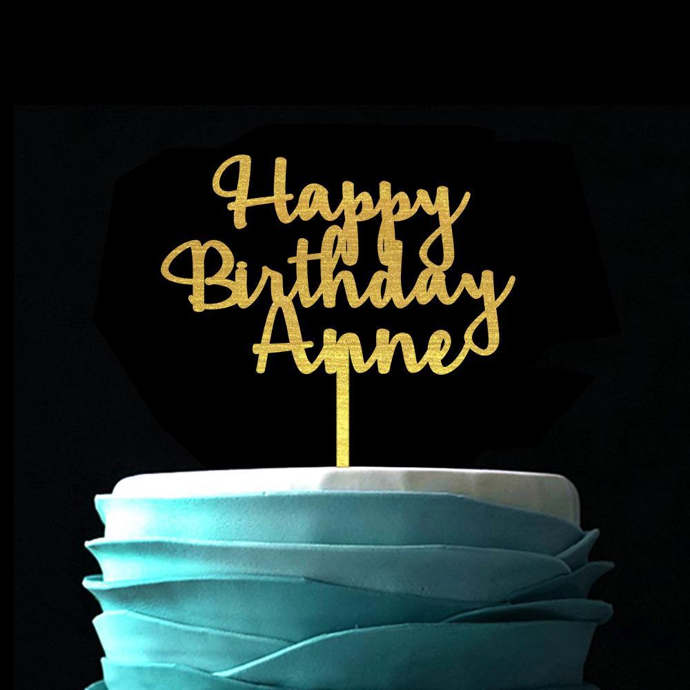 شخصية اسم الخط كعكة عيد ميلاد توبر الذهب خشبية كعكة توبر عيد ميلاد سعيد مخصص اسم العمر