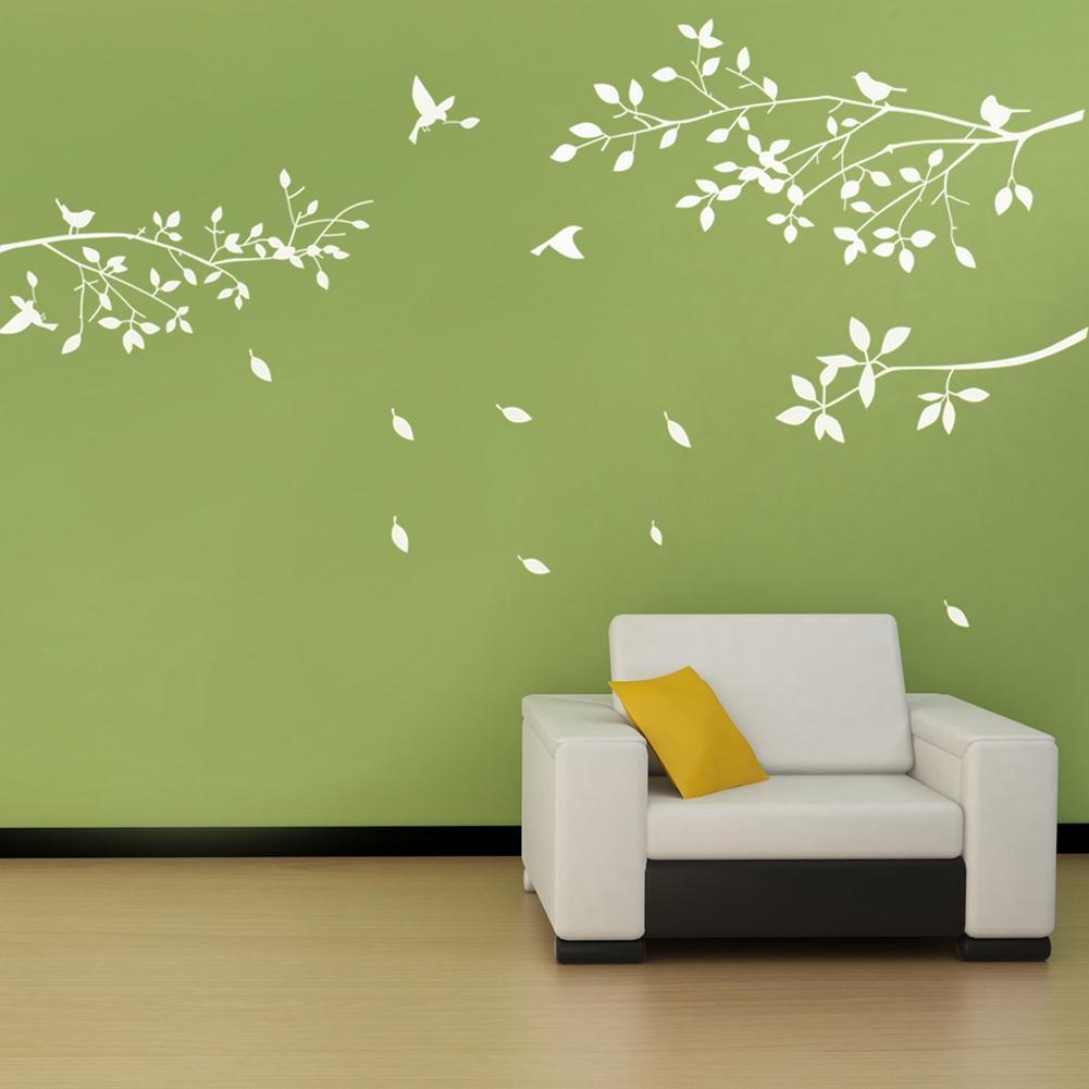 Fashion White Tree Branches Birds Leaves Home Wall Stickers Living Room Decals Background Garden Window Decor